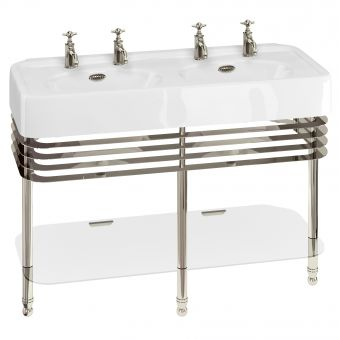 Arcade Large 120cm Double Bowl Basin with Washstand