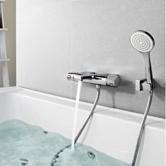 Roca L90 Wall Mounted Thermostatic Bath Shower Mixer Tap Set