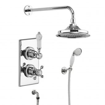 Burlington Trent Concealed Valve - Showerhead and Handset with Claremont Handles