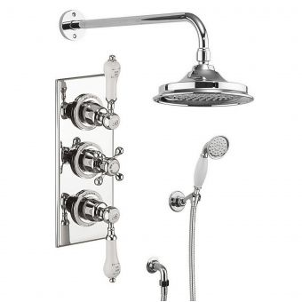 Burlington Trent Concealed 3 Handle Valve with Showerhead and Handset