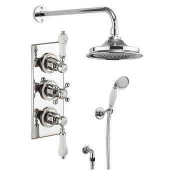 Burlington Trent Concealed 3 Handle Valve Shower Set with Claremont Handles