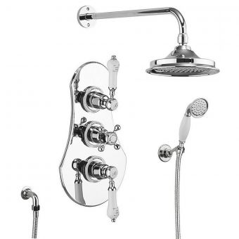 Burlington Severn 3 Handle Concealed Valve with Showerhead and Handset