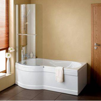 VitrA Delphi 1700mm Curved Shower Bath, Panel & Screen (Left Hand)