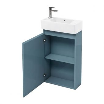 Britton Compact 500x250mm Cloakroom Unit (Ocean) with Basin - Left Hand Tap