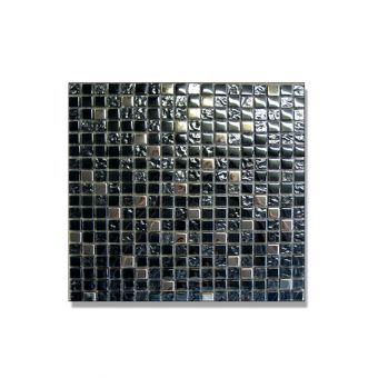 Abacus Mixed Square Black and Chrome Small Mosaic Tile 30 x 30cm