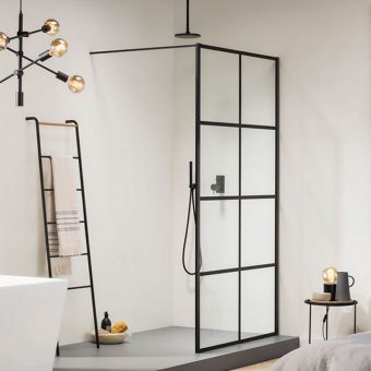 Impey Soho Black Double Walk in Wetroom Panel