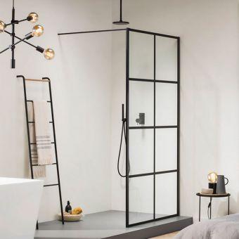 Impey Soho Black Double Walk in Wetroom Panel - AH24-BAR100