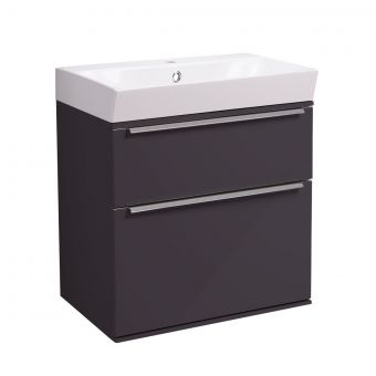 Roper Rhodes Scheme Wall Mounted 500mm Vanity Unit with Double Drawers and Ceramic Basin - *SCHH05C.50