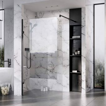 Roman Liberty Wetroom Panel with Matt Black finish and Clear Glass
