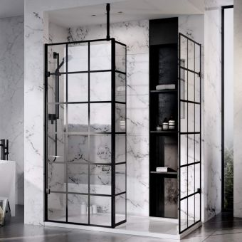 Roman Liberty 10mm Black Grid Pattern Wetroom Panel