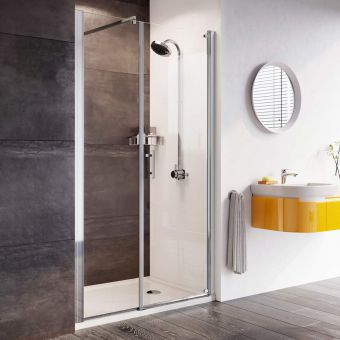 Roman Innov8 Pivot Shower Door with In-Line Panel for Alcove Installation