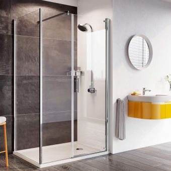 Roman Innov8 Pivot Shower Door with In-Line Panel for Corner Installation