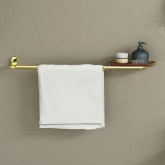 VitrA Eternity Towel Rail with Teak Shelf