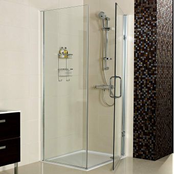 Roman Decem Corner Hinged Shower Door with Side Panel