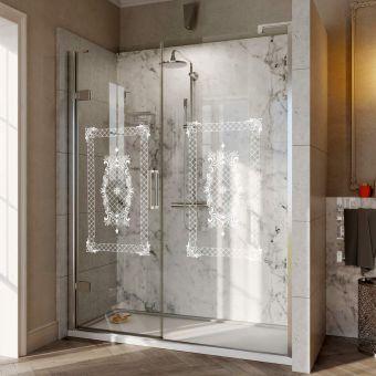 Roman Decem Victoriana Print Hinged Shower Door and Inline Panel