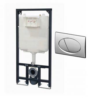 Prozone 118cm Slimline WC Frame with Cistern + Ellipse Flush Plate