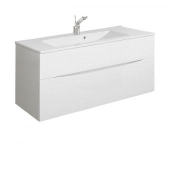 Crosswater Glide II 1000mm Vanity Unit - White Gloss with Ceramic Basin