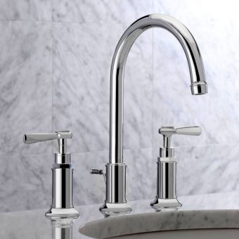 AXOR Montreux 3 Hole Basin Mixer Tap 180 with Pop-up Waste and Lever Handles
