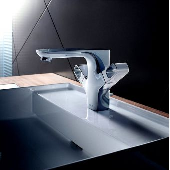 AXOR Urquiola Twin Handle Basin Mixer Tap 120 with Pop-up Waste