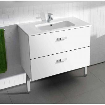 Roca Victoria Basic 600mm Vanity Unit + Basin - White Gloss