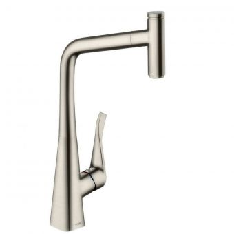 Hansgrohe Metris Select Kitchen Mixer with Pull Out Spray - Stainless