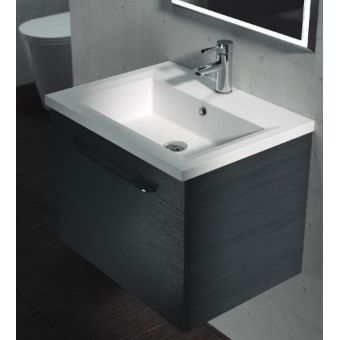 Saneux Austen Soft Close Drawer Wall Mounted Vanity Unit with Mineral Marble Washbasin