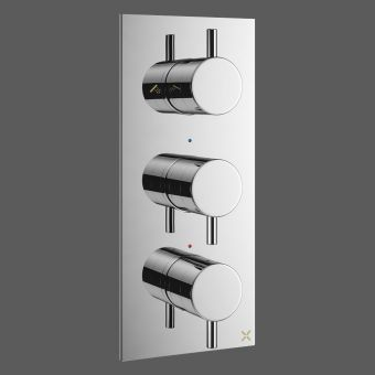 Crosswater MPRO Chrome Vertical 3 Handle Shower Valve