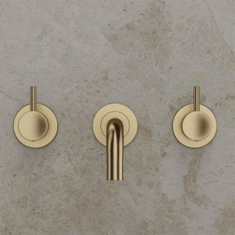 Crosswater MPRO Brushed Brass 3 Hole Basin Wall Tap