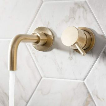 Crosswater MPRO Brushed Brass 2 Hole Basin Wall Tap