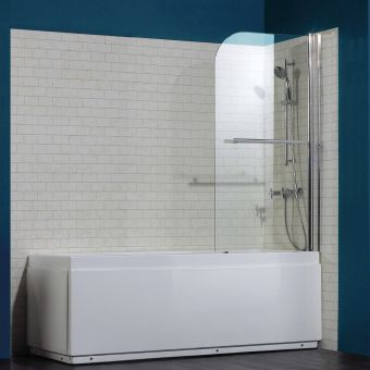 Saneux Agua Maison Radius-Shaped Bath Screen with Towel Rail