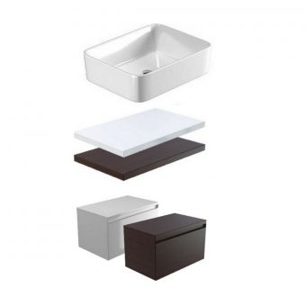 Saneux Podium Single Drawer Countertop Vanity Unit with Square Washbasin