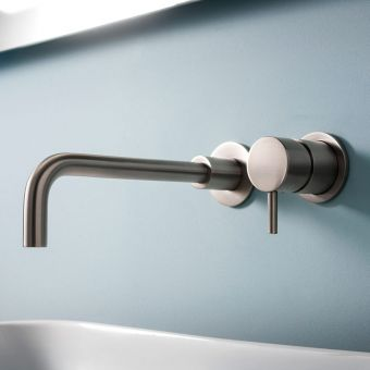 Crosswater MPRO Brushed Steel 2 Hole Basin Wall Tap
