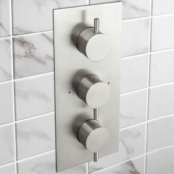 Crosswater MPRO Brushed Steel Vertical 3 Handle Shower Valve