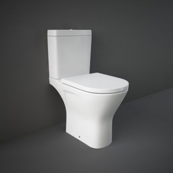 RAK Resort Comfort Height Maxi Close Coupled Open Back Rimless Toilet Suite
