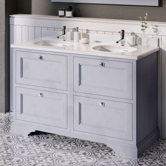Burlington 130cm 4 Drawer Vanity with Worktop and Twin Bowls