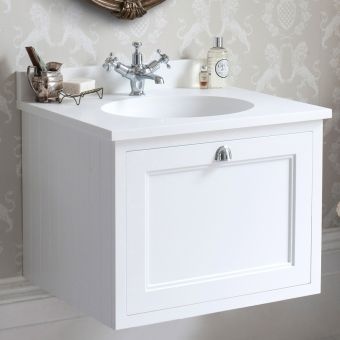 Burlington 650mm 1 Drawer Wall Hung Vanity Unit with Worktop and Bowl