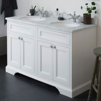 Burlington 130cm 4 Door Vanity with Worktop and Twin Bowls