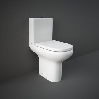 RAK Compact Deluxe Comfort Height Close Coupled Open Back Rimless Toilet Suite - COMPAK45010/FA