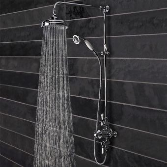 Tavistock Varsity Exposed Thermostatic Shower Mixer with Overhead Drencher and Shower Handset