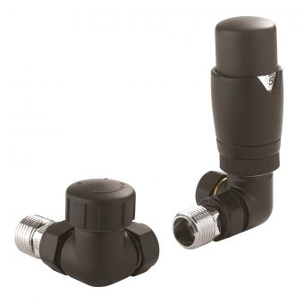 Crosswater Matt Black Thermostatic Corner Radiator Valve
