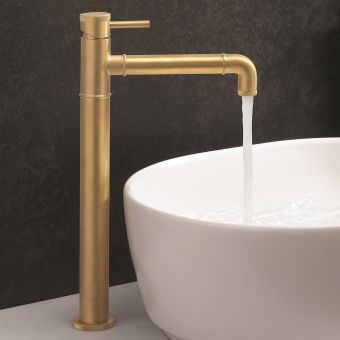 Crosswater MPRO Industrial Unlaquered Brass Tall Basin Tap