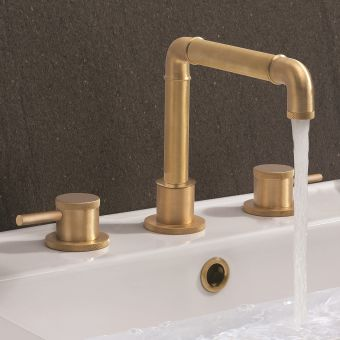 Crosswater MPRO Industrial Unlaquered Brass 3 Hole Basin Tap