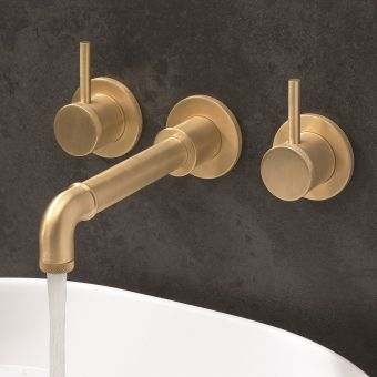 Crosswater MPRO Industrial Unlaquered Brass 3 Hole Wall Basin Tap