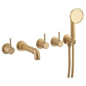 Crosswater MPRO Industrial Unlaquered Brass 5 Hole Bath Tap with Shower - PRI450WUB