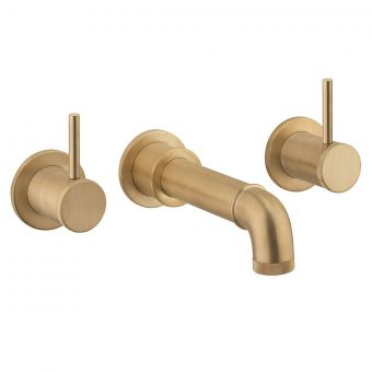 Crosswater MPRO Industrial Unlaquered Brass 3 Hole Wall Bath Tap