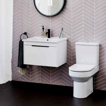 Britton Shoreditch Round Close Coupled Rimless Toilet with Soft Close Seat - SHR044