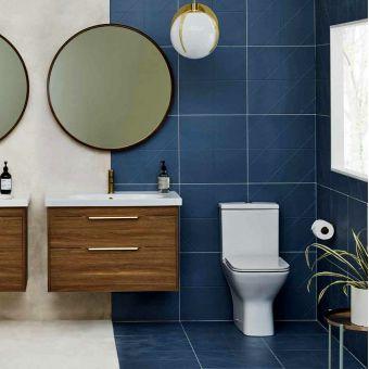 Britton Shoreditch Square Close Coupled Rimless Toilet with Soft Close Seat - SHR048