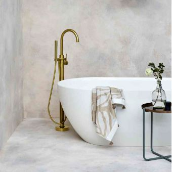 Britton Hoxton Floorstanding Bath Filler with Shower Handset