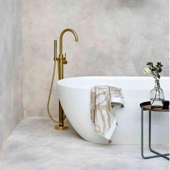 Britton Hoxton Floorstanding Bath Filler with Shower Handset