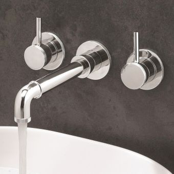 Crosswater MPRO Industrial Chrome 3 Hole Wall Basin Tap